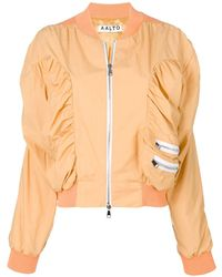 AALTO Ruched Bomber Jacket - Yellow