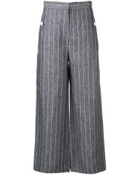 Max Mara - Pinstriped Cropped Trousers - Lyst