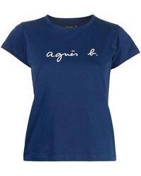 agnès b. Logo-print T-shirt - Blue