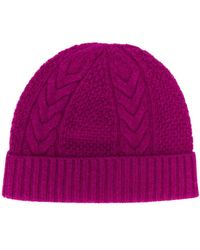 N.Peal Cashmere Cable Knit Hat - Pink