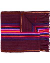 Paul Smith Gestreifter Schal aus Feinstrick - Rot