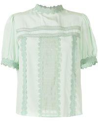 Martha Medeiros Giovanna Silk Blouse With Lace - Green