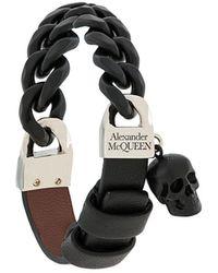 Alexander McQueen Armband Met Doodskopamulet - Zwart