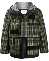 White Mountaineering Клетчатая Куртка Shield Pro Из Ткани Pertex® - Зеленый