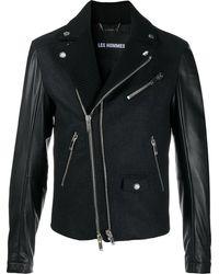 Les Hommes パネル ライダースジャケット - ブラック