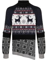 Marine Serre Christmas セーター - ブルー