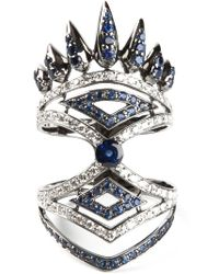 Nikos Koulis - Diamond And Sapphire Pavé Ring - Lyst