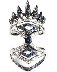 Nikos Koulis | Diamond And Sapphire Pavé Ring | Lyst