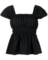 Molly Goddard Peplum Short-sleeve Blouse - Black