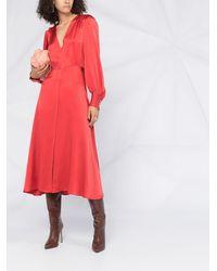 Forte Forte Присборенное Платье С V-образным Вырезом - Красный
