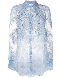 Ermanno Scervino Lace-pattern Sheer Shirt - Blue