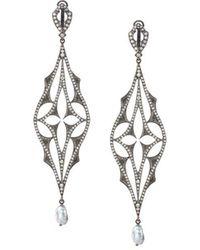 Loree Rodkin - Diamond Drop Pearl Earrings - Lyst
