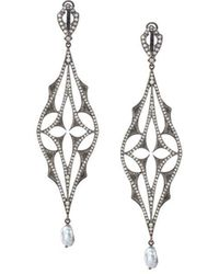 Loree Rodkin - Diamond Drop Pearl Earrings - Lyst