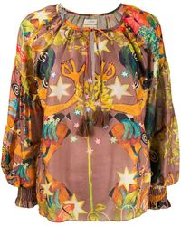 Chufy Oversized Abstract Print Blouse - Brown