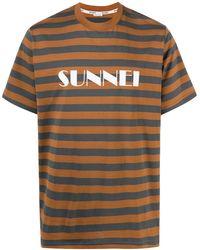 Sunnei ロゴ ストライプ Tシャツ - ブラウン
