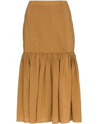 Marysia Swim Seersucker Midi Skirt - Brown