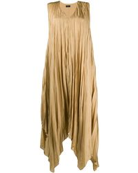 JOSEPH Pleated Handkerchief-hem Dress - Yellow