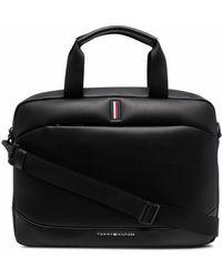 Tommy Hilfiger Logo-stripe Laptop Bag - Black