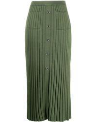 Sandro Pleated Midi Skirt - Green