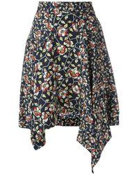 Isabel Marant Asymmetric Floral Print Skirt - Zwart