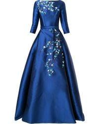 Carolina Herrera Floral-appliqué Satin Gown - Blue