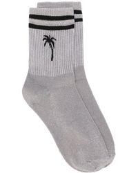 MSGM Palm Tree Striped Socks - Metallic