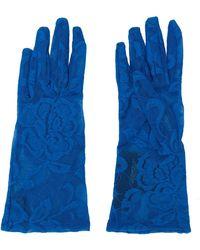 Gucci Handschoenen Van Bloem Kant - Blauw