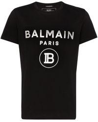 Balmain - T-shirt en coton à logo floqué - Lyst