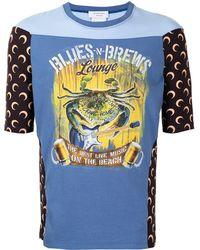 Marine Serre グラフィック パネル Tシャツ - ブルー