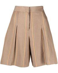 PT01 Shorts de vestir a rayas - Neutro