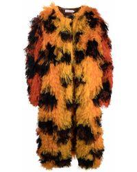 Walter Van Beirendonck Faux-Fur-Mantel mit Leopardenmuster - Orange