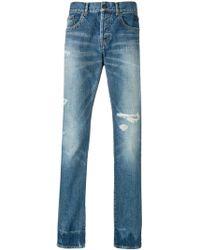 Saint Laurent Faded Denim Jeans - Blue