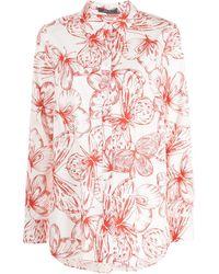 Lela Rose Chemise à fleurs - Blanc