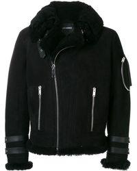 Les Hommes Off-centre Zip Jacket - Black