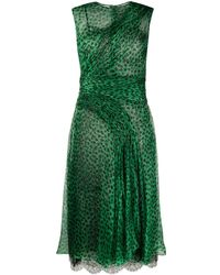 Ermanno Scervino Animal Print Pleated Dress - Green