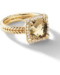 David Yurman 18kt Yellow Gold Châtelaine Citrine And Diamond Ring - Metallic