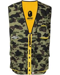 A Bathing Ape Camouflage-print Reversible Vest - Green