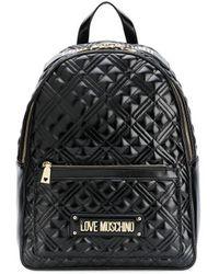 Love Moschino Mochila acolchada con placa del logo - Negro