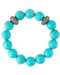 Gemco ダイヤモンド装飾 ボールビーズ ブレスレット - ブルー