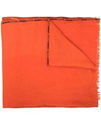Etro ロゴ ストライプ スカーフ - オレンジ