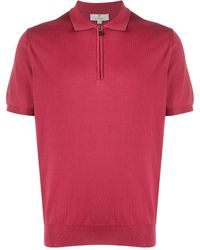 Canali Zip Polo Shirt - Red