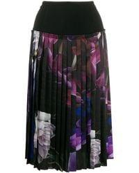 Roberto Cavalli Floral print pleated skirt - Nero