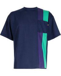 Anglozine Kit パネル Tシャツ - ブルー
