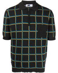 Anglozine Check-print Polo Shirt - Grey