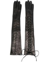 Manokhi Gants longs à lacets - Noir