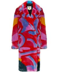 Stella McCartney X The Beatles Graphic-print Faux-fur Coat - Red