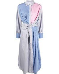 MSGM ストライプ パッチワーク シャツドレス - ブルー
