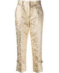 Dolce & Gabbana Укороченные Жаккардовые Брюки - Металлик