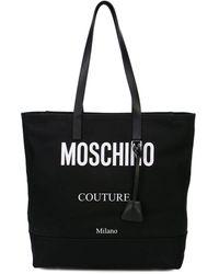 Moschino Contrast Logo Tote Bag - Black