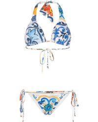 Dolce & Gabbana - Printed Halter-neck Bikini - Lyst